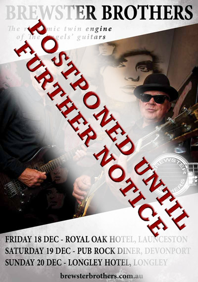 Brewster Brothers Play Tasmania - Dec 2020 - 3 Shows - Postponed